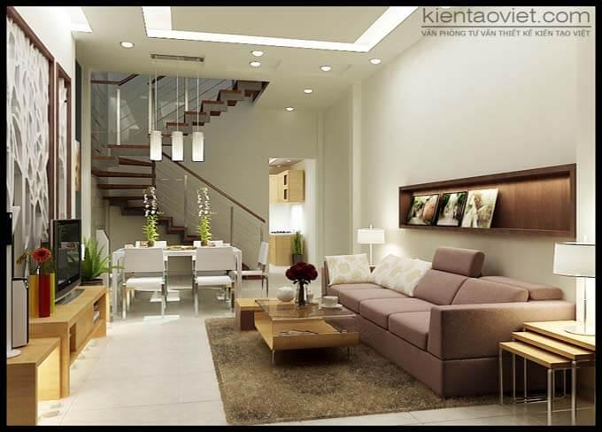 Phòng khách thiết kế nhà phố 2 tầng 4.5x18.5m