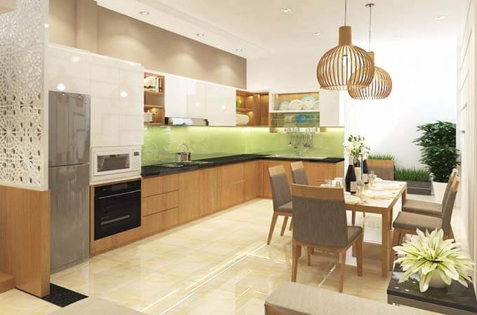 Phòng bếp thiết kế nhà phố 2 tầng 4.5x18.5m