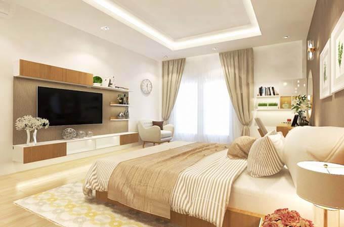 Phòng ngủ của bố mẹ thiết kế nhà phố 2 tầng 4.5x18.5m