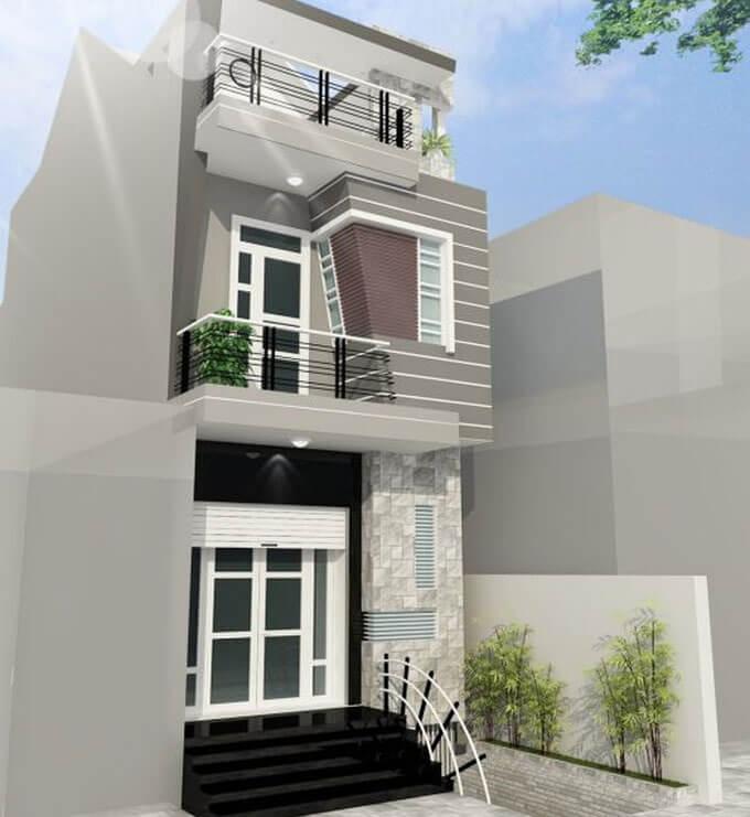 Mẫu 01: Phối cảnh thiết kế nhà phố 2 tầng 4.6x10.5m
