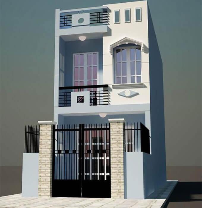 Mẫu 02: Phối cảnh thiết kế nhà phố 2 tầng 4.6x10.5m
