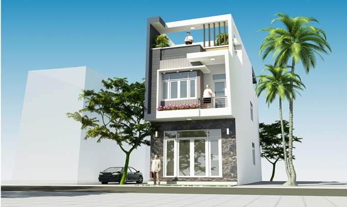 Mẫu 03: Phối cảnh thiết kế nhà phố 2 tầng 4.6x10.5m
