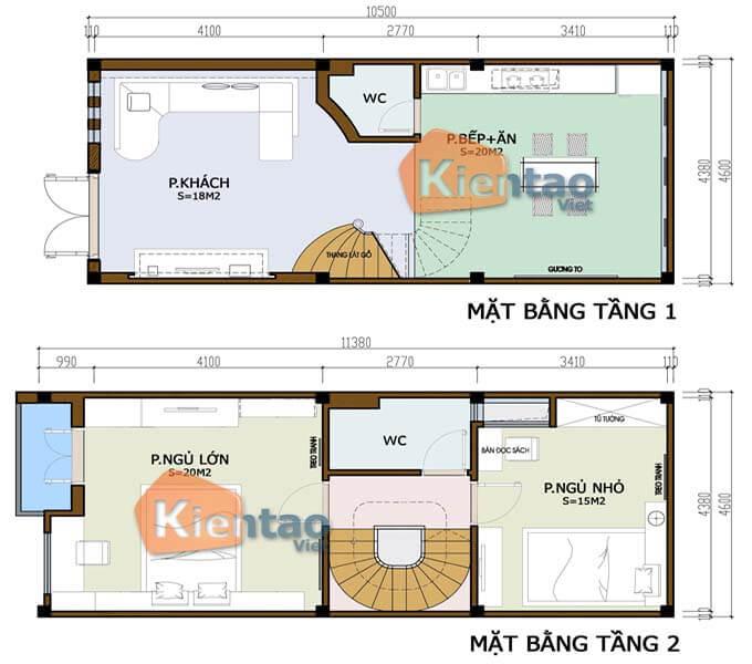Bản vẽ thiết kế nhà phố 2 tầng 4.6x10.5m
