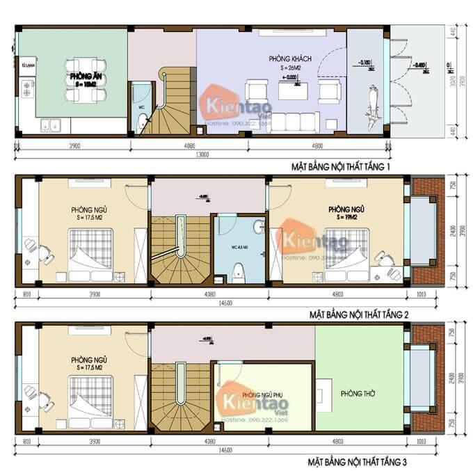 Mặt bằng thiết kế nhà phố 3 tầng tại Mỹ Đức 3.9x13m