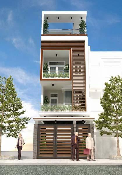 Không rời mắt với kiến trúc độc đáo của mẫu nhà phố 3 tầng 1 tum mặt tiền 5m