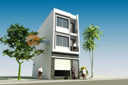 Phối cảnh 01: Nhà phố 3 tầng mặt tiền 5m tại Long Biên
