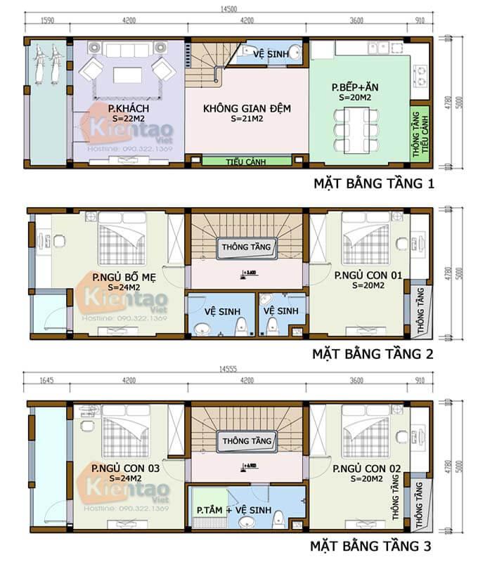 Bản vẽ thiết kế công năng nhà phố 3 tầng tại Tây Hồ
