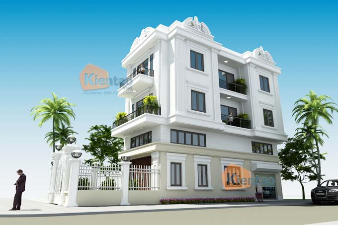 Thiết kế nhà phố 3 tầng 6.5x14m tân cổ điển ở Hà Nam - Phối cảnh 01
