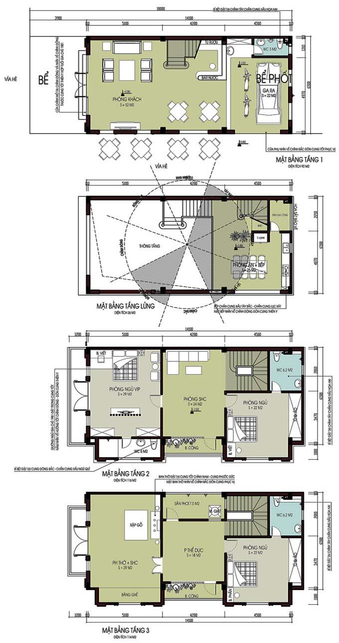 Thiết kế nhà phố 3 tầng 6.5x14m tân cổ điển ở Hà Nam - Mặt bằng tầng 1+Lửng+2+3
