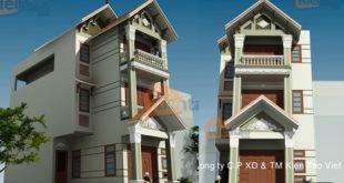 Thiết kế nhà phố 3 tầng mặt tiền 6m giả biệt thự - Phối cảnh