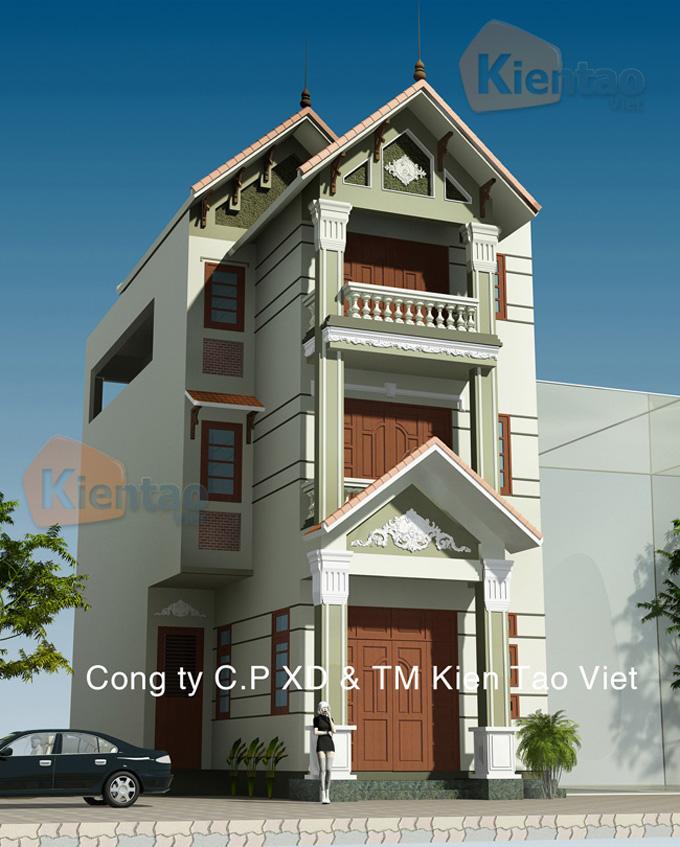 Thiết kế nhà phố 3 tầng mặt tiền 6m giả biệt thự - Phối cảnh 03