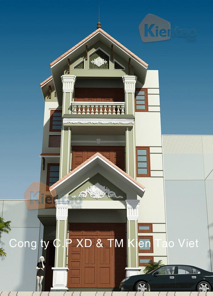 Thiết kế nhà phố 3 tầng mặt tiền 6m giả biệt thự - Phối cảnh 02