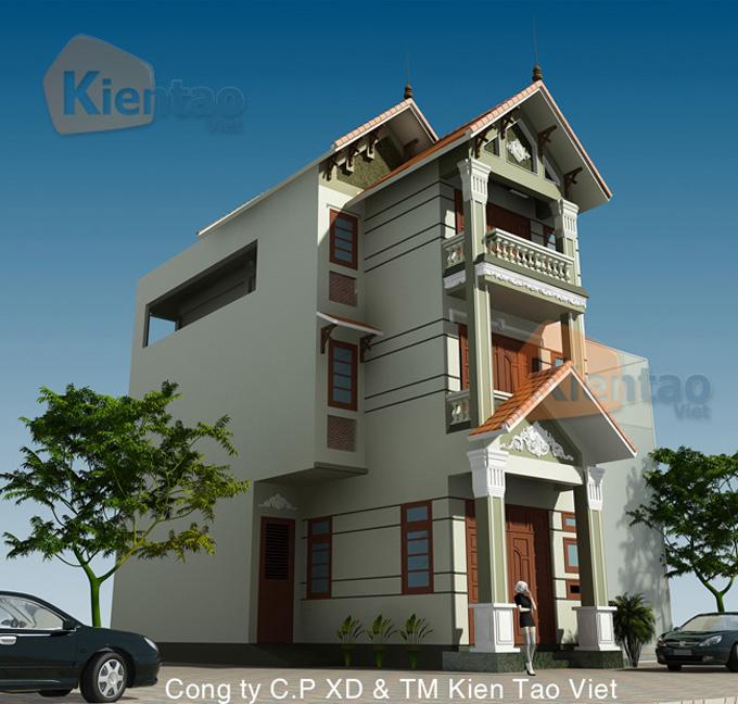 Thiết kế nhà phố 3 tầng mặt tiền 6m giả biệt thự - Phối cảnh 01