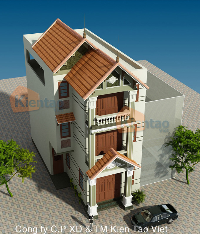 Thiết kế nhà phố 3 tầng mặt tiền 6m giả biệt thự - Phối cảnh 04