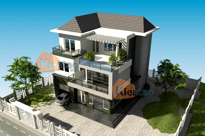 Thiết kế biệt thự 3 tầng hiện đại 120m2 ở Thanh Oai - Phối cảnh 01