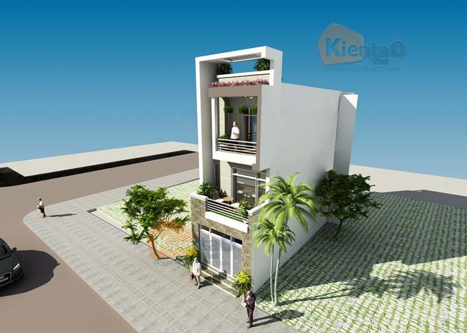 Thiết kế nhà phố 3 tầng 5x14m hiện đại. PC2