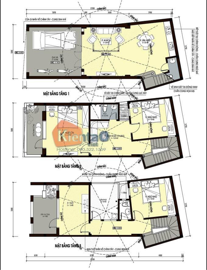 Thiết kế nhà phố 3 tầng 5x14m hiện đại. MB