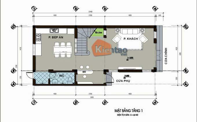 Thiết kế nhà phố 3 tầng mặt tiền 6m. MB1