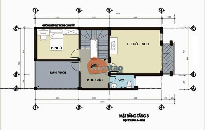 Thiết kế nhà phố 3 tầng mặt tiền 6m. MB3