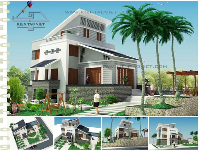 Biệt thự 3 tầng 142m2 mái lệch tại Thăng Long, Hà Nội - Phối cảnh 01