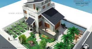 Biệt thự 3 tầng 142m2 mái lệch tại Thăng Long, Hà Nội - Phối cảnh 02