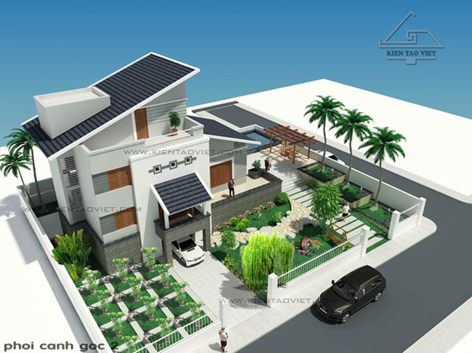 Biệt thự 3 tầng 142m2 mái lệch tại Thăng Long, Hà Nội - Phối cảnh 03