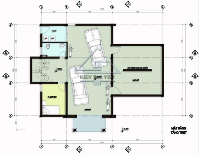 Biệt thự 3 tầng 142m2 mái lệch tại Thăng Long, Hà Nội - Mặt bằng tầng 1