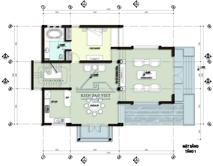 Biệt thự 3 tầng 142m2 mái lệch tại Thăng Long, Hà Nội - Mặt bằng tầng 2