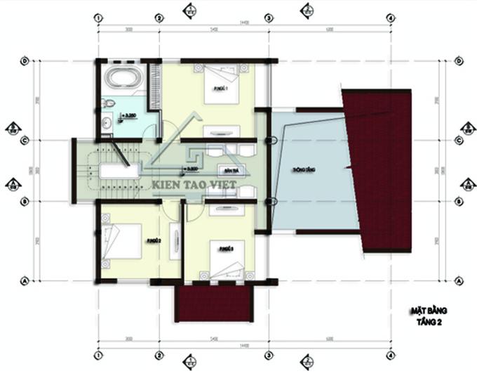 Biệt thự 3 tầng 142m2 mái lệch tại Thăng Long, Hà Nội - Mặt bằng tầng 3