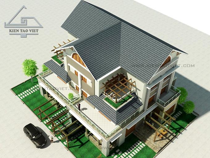 Biệt thự song lập 3 tầng 150m2 tại Long Biên, Hà Nội - Phối cảnh 01