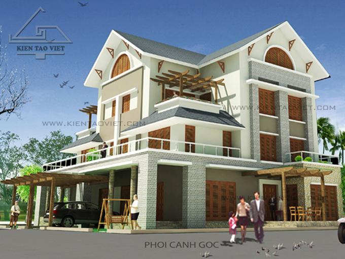 Biệt thự song lập 3 tầng 150m2 tại Long Biên, Hà Nội - Phối cảnh 02