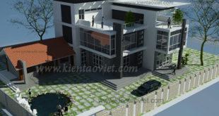 Cải tạo mẫu biệt thự 3 tầng 110m2 tại Nghệ An - Phối cảnh 01