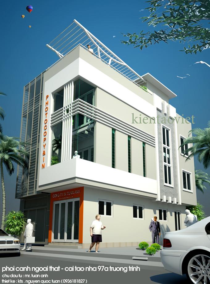 Cải tạo nhà phố 3 tầng 2 mặt tiền 3.2x12.6m tại Trường Trinh, Hà Nội – Phối cảnh kiến trúc