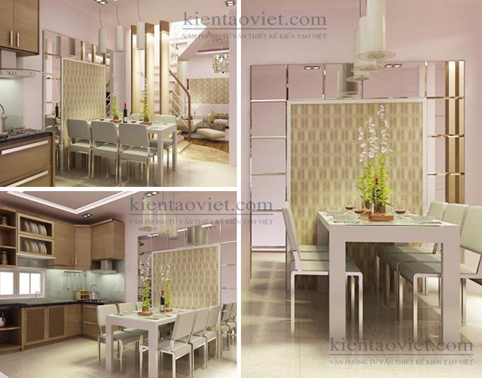 Cải tạo nhà phố 4 tầng 4x15m kết hợp kinh doanh ở Giải Phóng – Nội thất phòng bếp ăn