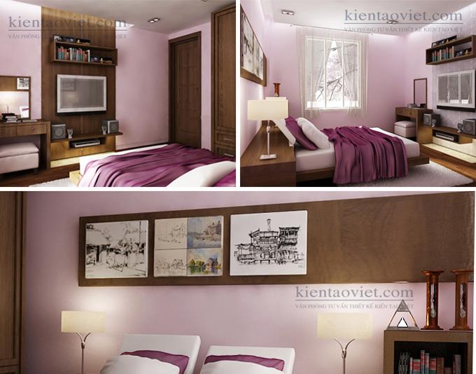 Cải tạo nhà phố 4 tầng 4x15m kết hợp kinh doanh ở Giải Phóng – Nội thất phòng ngủ 01