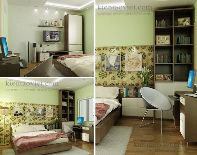 Cải tạo nhà phố 4 tầng 4x15m kết hợp kinh doanh ở Giải Phóng – Nội thất phòng ngủ 02