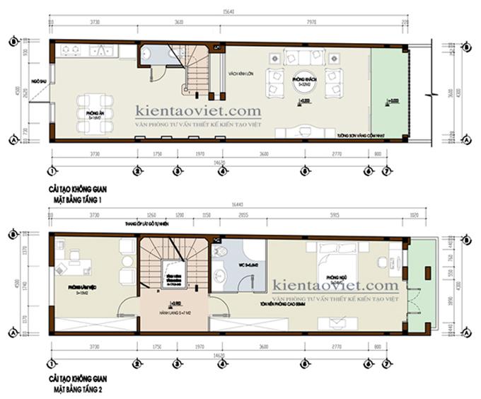 Cải tạo nhà phố cách tân 5 tầng 4,3×15,6m tại Hai Bà Trưng, Hà Nội – Mặt bằng tầng 1+2