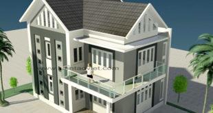 Mẫu biệt thự 2 tầng 10,6x8,6m hiện đại tại Hưng Yên - Phối cảnh 02