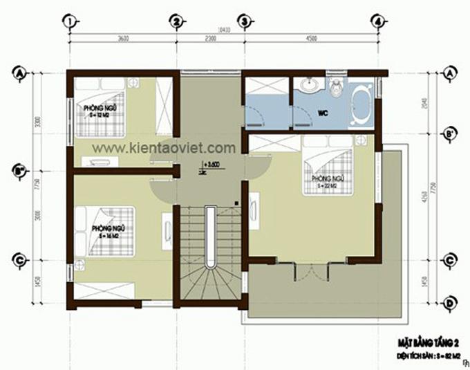 Mẫu biệt thự 2 tầng 10.6x8.6m hiện đại tại Hưng Yên - Mặt bằng tầng 2