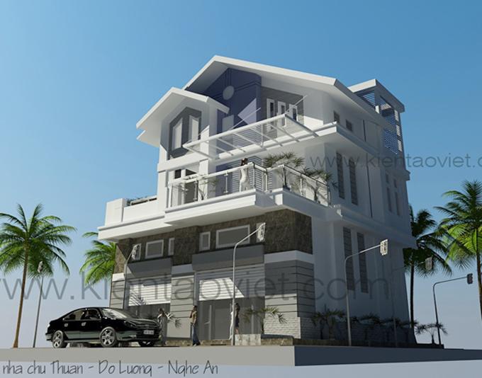 Mẫu biệt thự đẹp 3 tầng 100m2 tại Nghệ An - Phối cảnh 01