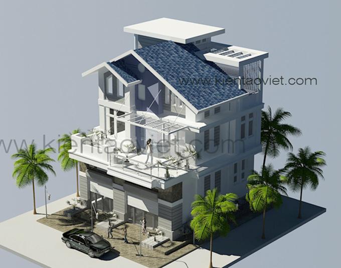 Mẫu biệt thự đẹp 3 tầng 100m2 tại Nghệ An - Phối cảnh 03