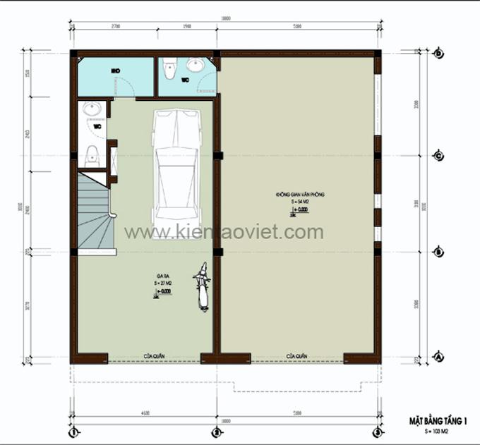 Mẫu biệt thự đẹp 3 tầng 100m2 tại Nghệ An - Mặt bằng tầng 1