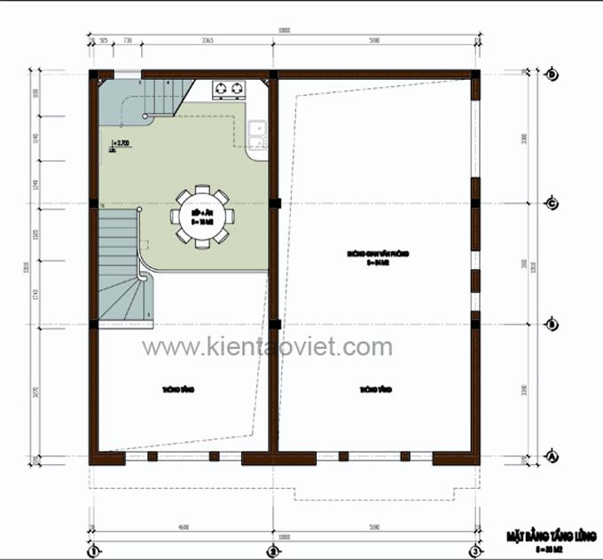 Mẫu biệt thự đẹp 3 tầng 100m2 tại Nghệ An - Mặt bằng tầng lửng