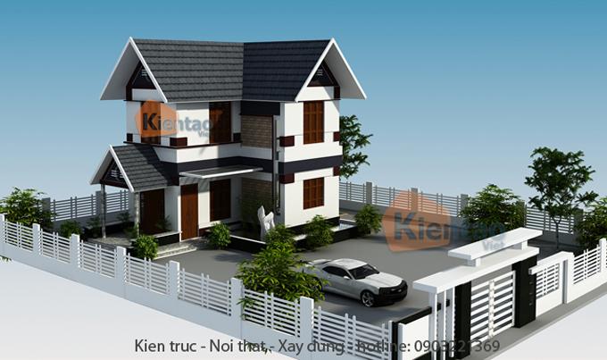 Mẫu biệt thự vườn 2 tầng 80m2 kiểu mái dốc tại Thái Bình - Phối cảnh 01