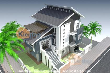 Mẫu nhà biệt thự 3 tầng 120m2 hiện đại tại Hải Dương - Phối cảnh 01