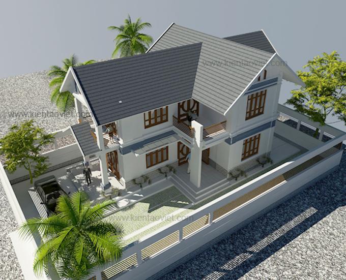 Mẫu nhà biệt thự vườn 2 tầng 78m2 tại Hà Nam - Phối cảnh 01