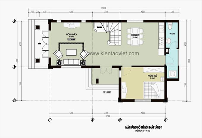 Mẫu nhà biệt thự vườn 2 tầng 78m2 tại Hà Nam - Mặt bằng tầng 1