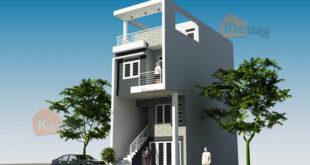 Mẫu nhà phố 3 tầng 1 tum 4,7x13m tại Giải Phóng, Hà Nội – Phối cảnh 01