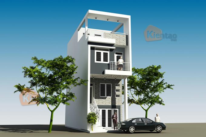 Mẫu nhà phố 3 tầng 1 tum 4,7x13m tại Giải Phóng, Hà Nội – Phối cảnh 02