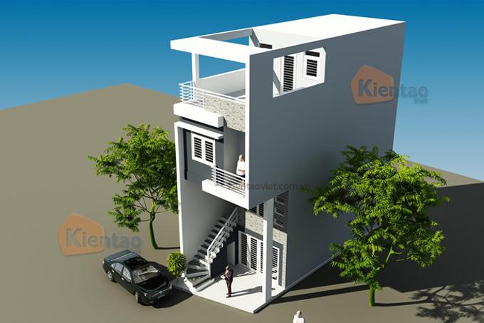 Mẫu nhà phố 3 tầng 1 tum 4,7x13m tại Giải Phóng, Hà Nội – Phối cảnh 03